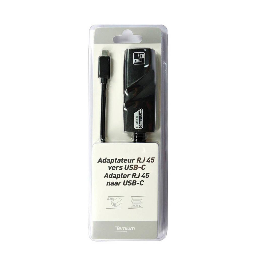 Temium USB hub ADAP USBC/RJ45, Zwart