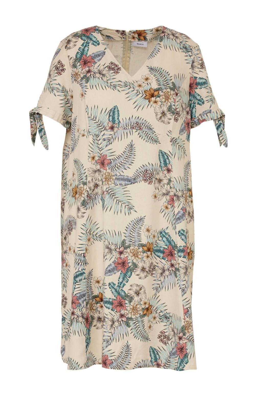 C&A XL Yessica gebloemde jurk met linnen ecru, Ecru/mintgroen