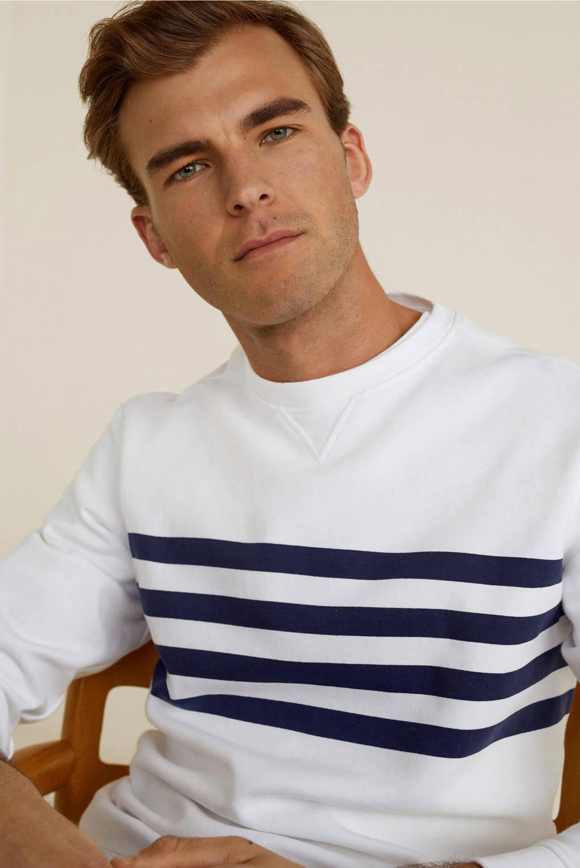 Mango Man gestreepte sweater wit, Wit