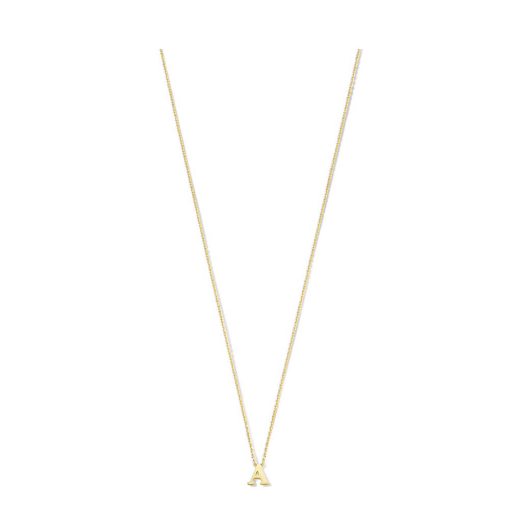 Isabel Bernard 14 karaat gouden ketting letter A - IB1001187-A, Goud