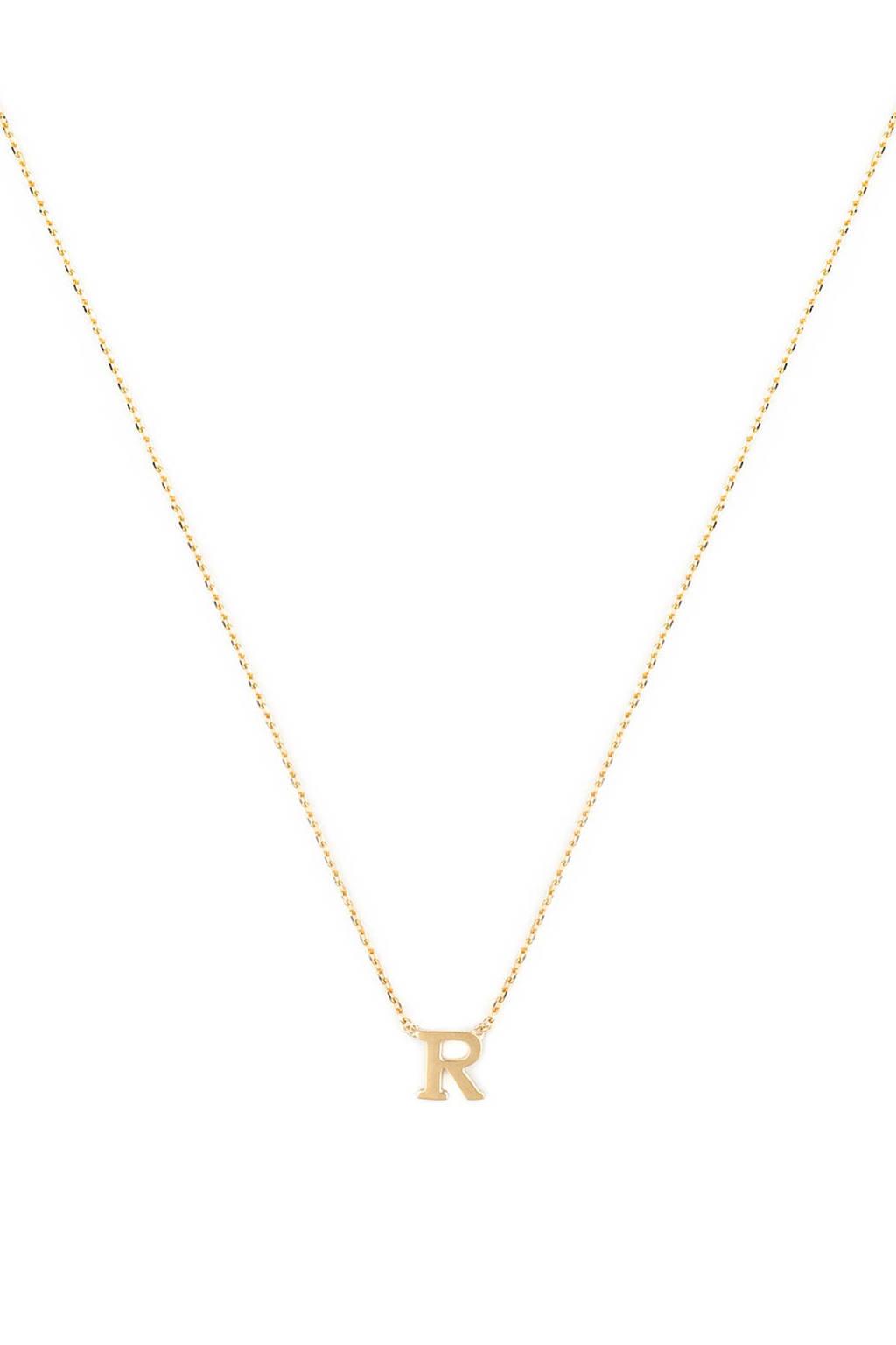 Isabel Bernard 14 karaat gouden ketting letter R - IB1001187-R, Goud