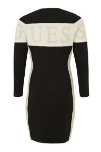 GUESS jurk met logo zwart/ off white