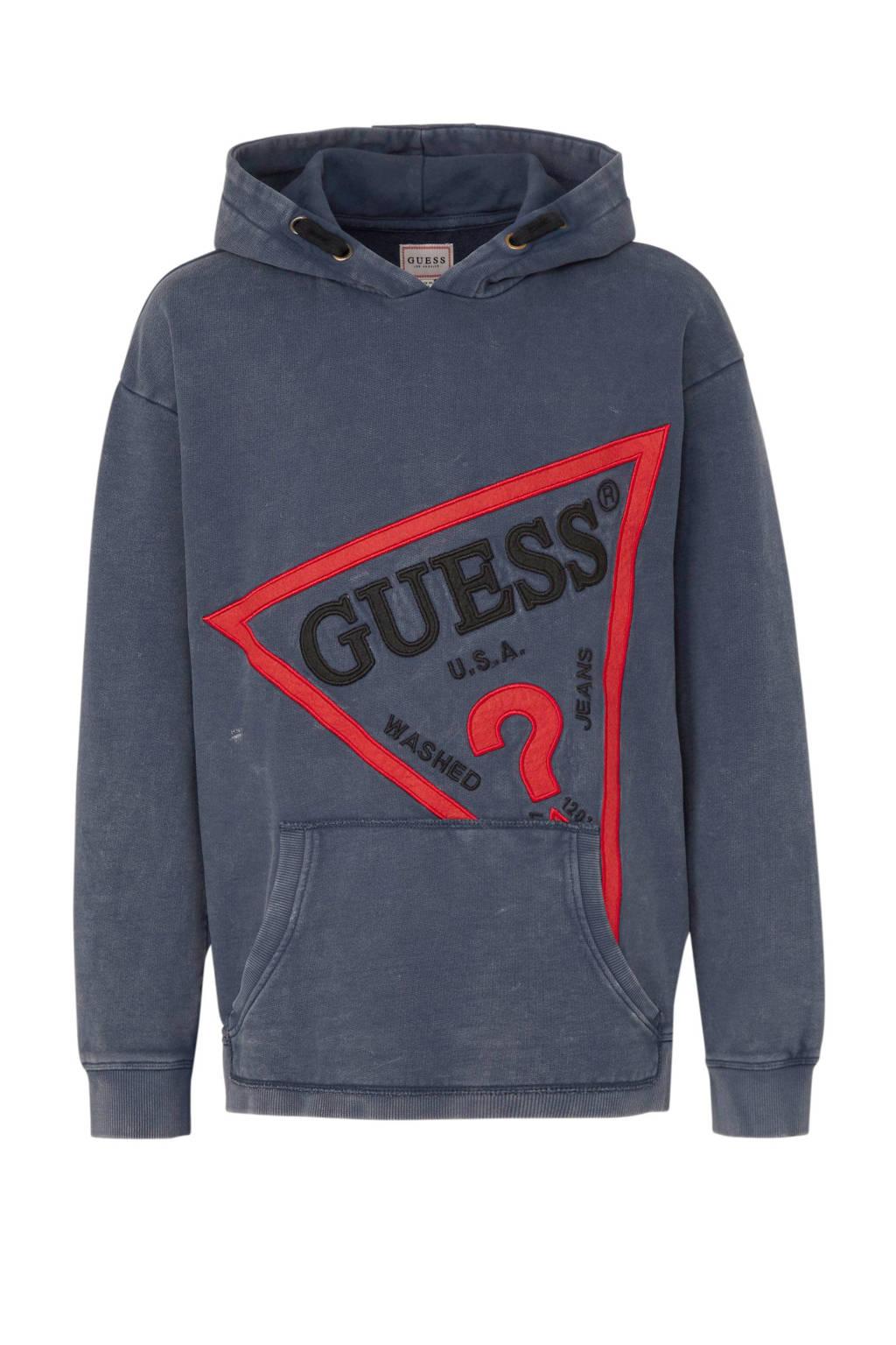 GUESS hoodie met borduursels donkerblauw, Donkerblauw