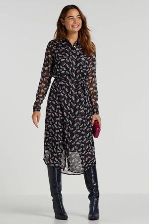 semi-transparante jurk met all over print en glitters zwart multi