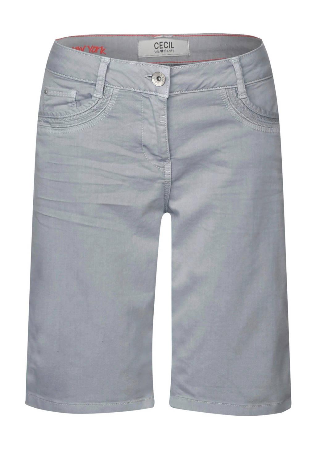 CECIL straight fit jeans short, Grijs