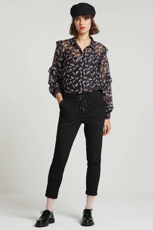 semi-transparante blouse met all over print en glitters zwart multi