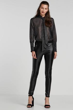 top Carima met all over print en glitters zwart/zilver