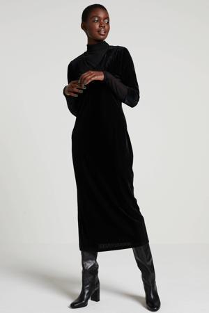 corduroy maxi jurk zwart