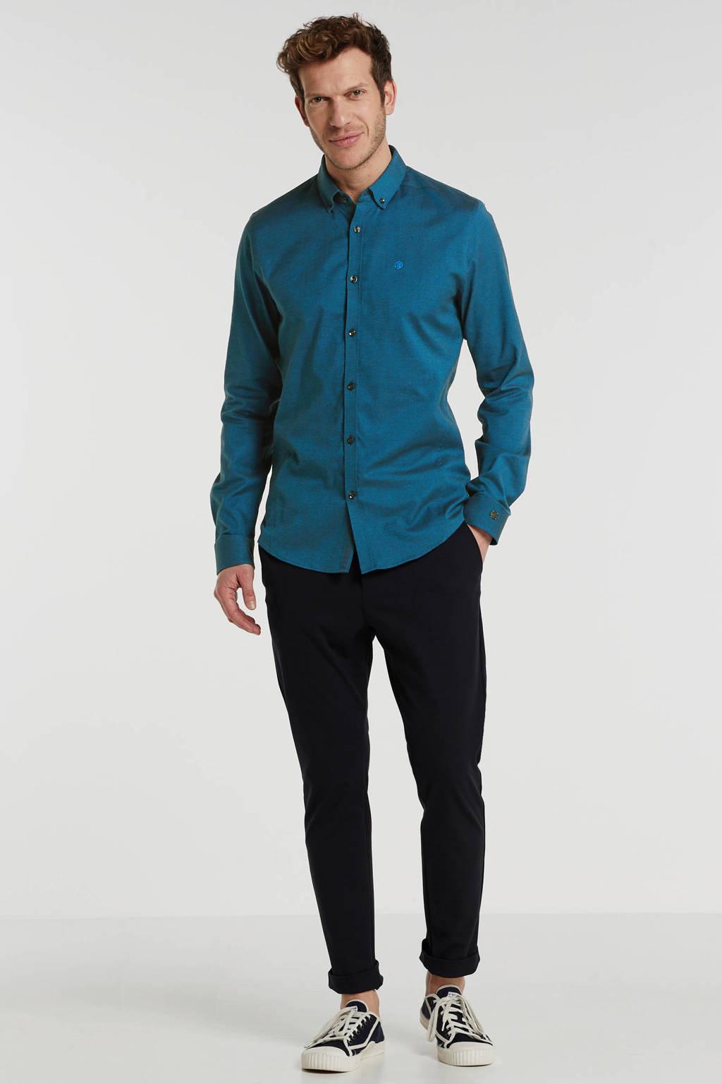 Cast Iron regular fit overhemd met logo blauw, Blauw