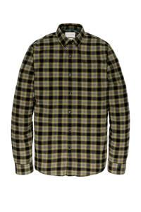 Cast Iron geruit regular fit overhemd bruin/geel/groen/grijs, Bruin/geel/groen/grijs