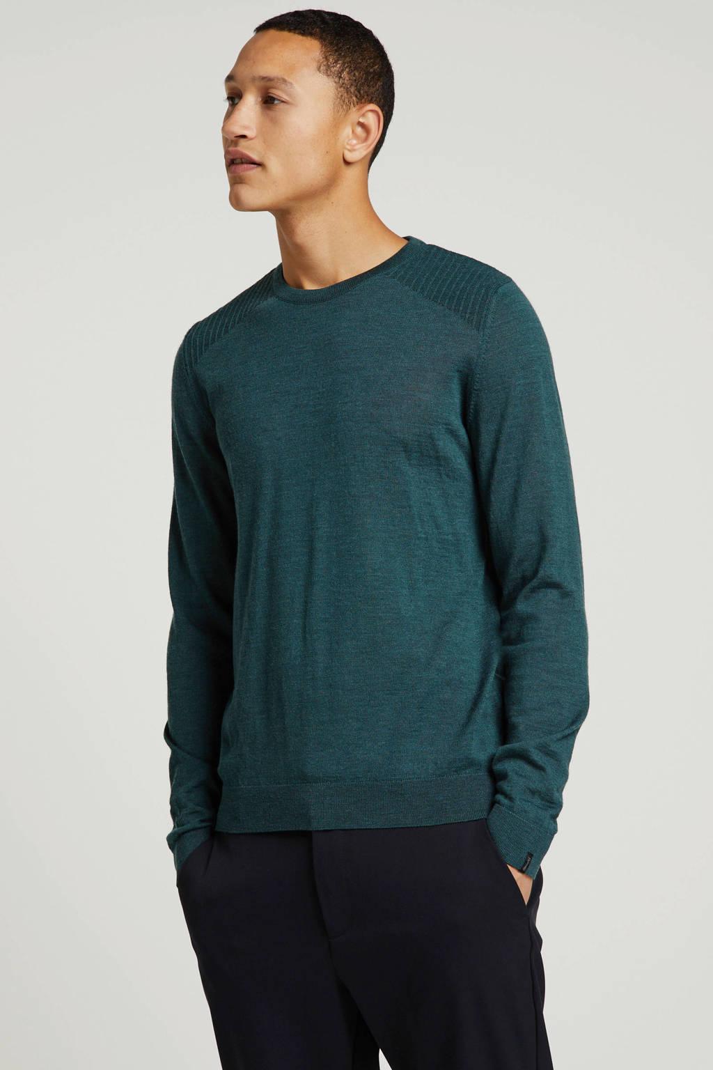 Vanguard gemêleerde trui met wol groen, Groen