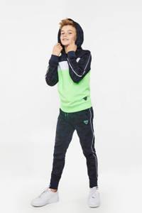 WE Fashion hoodie lichtgroen/donkerblauw/wit, Lichtgroen/donkerblauw/wit
