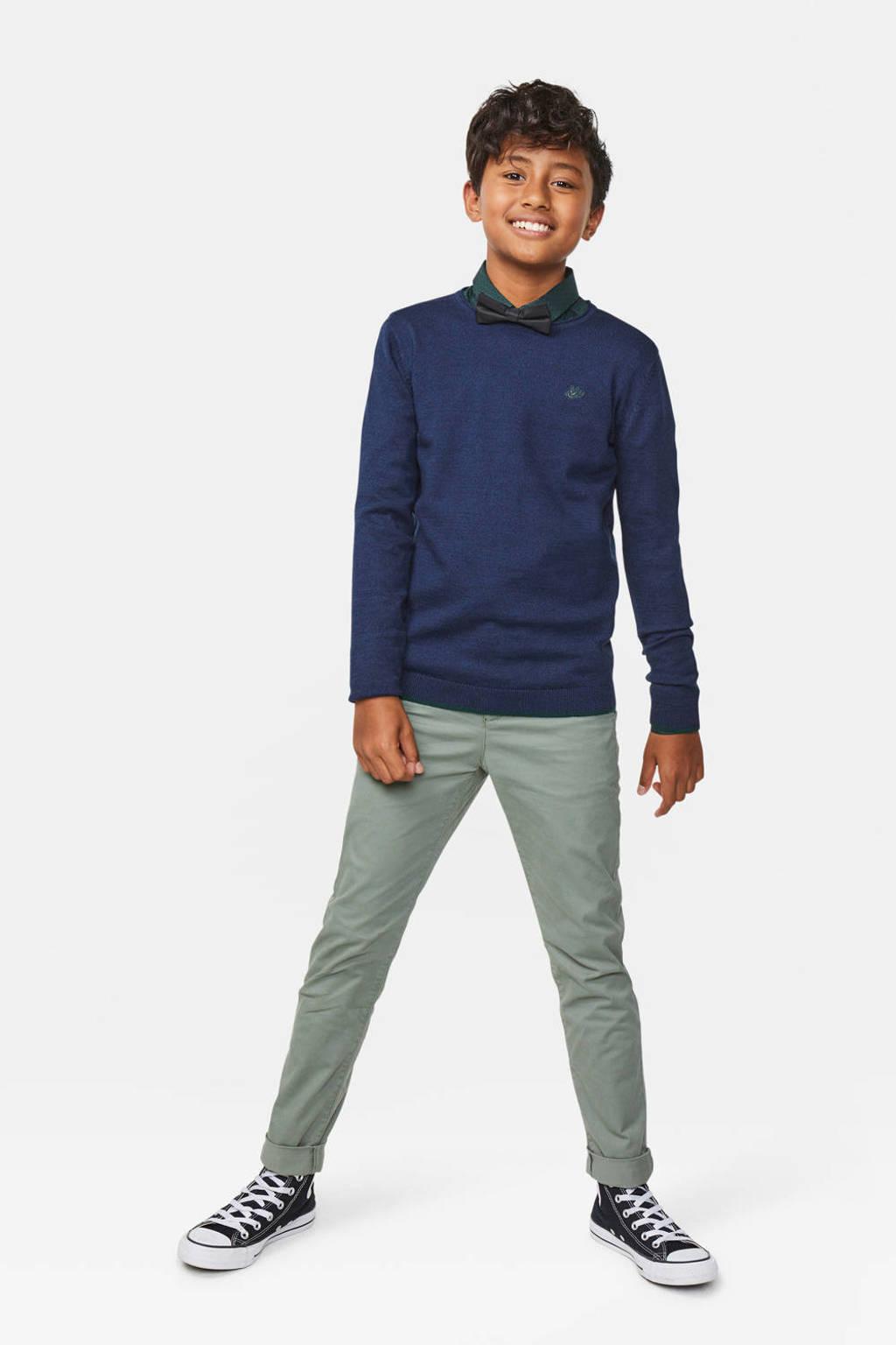 WE Fashion fijngebreide trui met borduursels blauw, Blauw