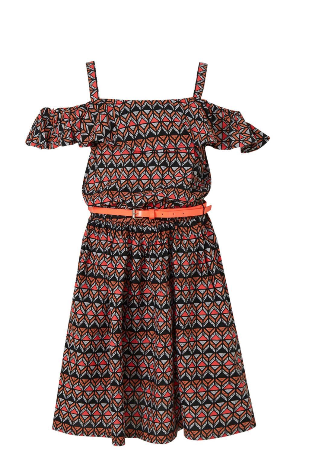 C&A Here & There open shoulder jurk met grafische print zwart, Zwart/oranje/roze
