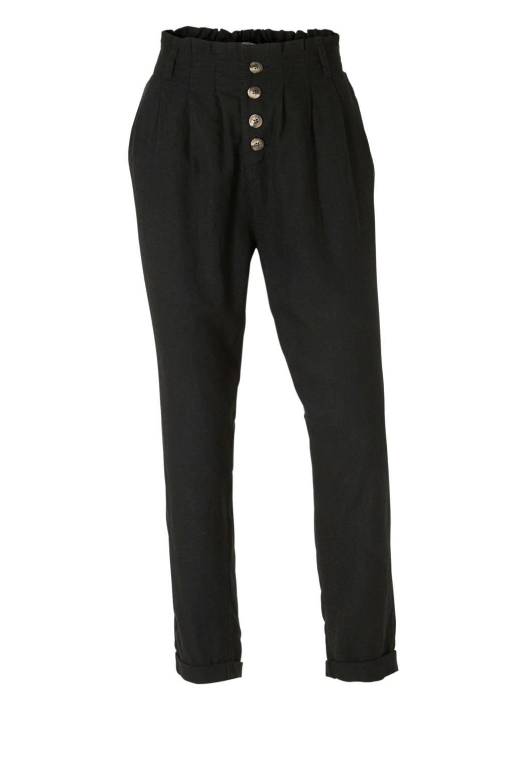 C&A Clockhouse tapered fit broek met linnen zwart, Zwart