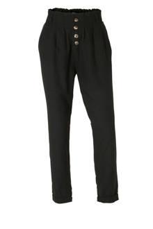 Clockhouse tapered fit broek met linnen zwart