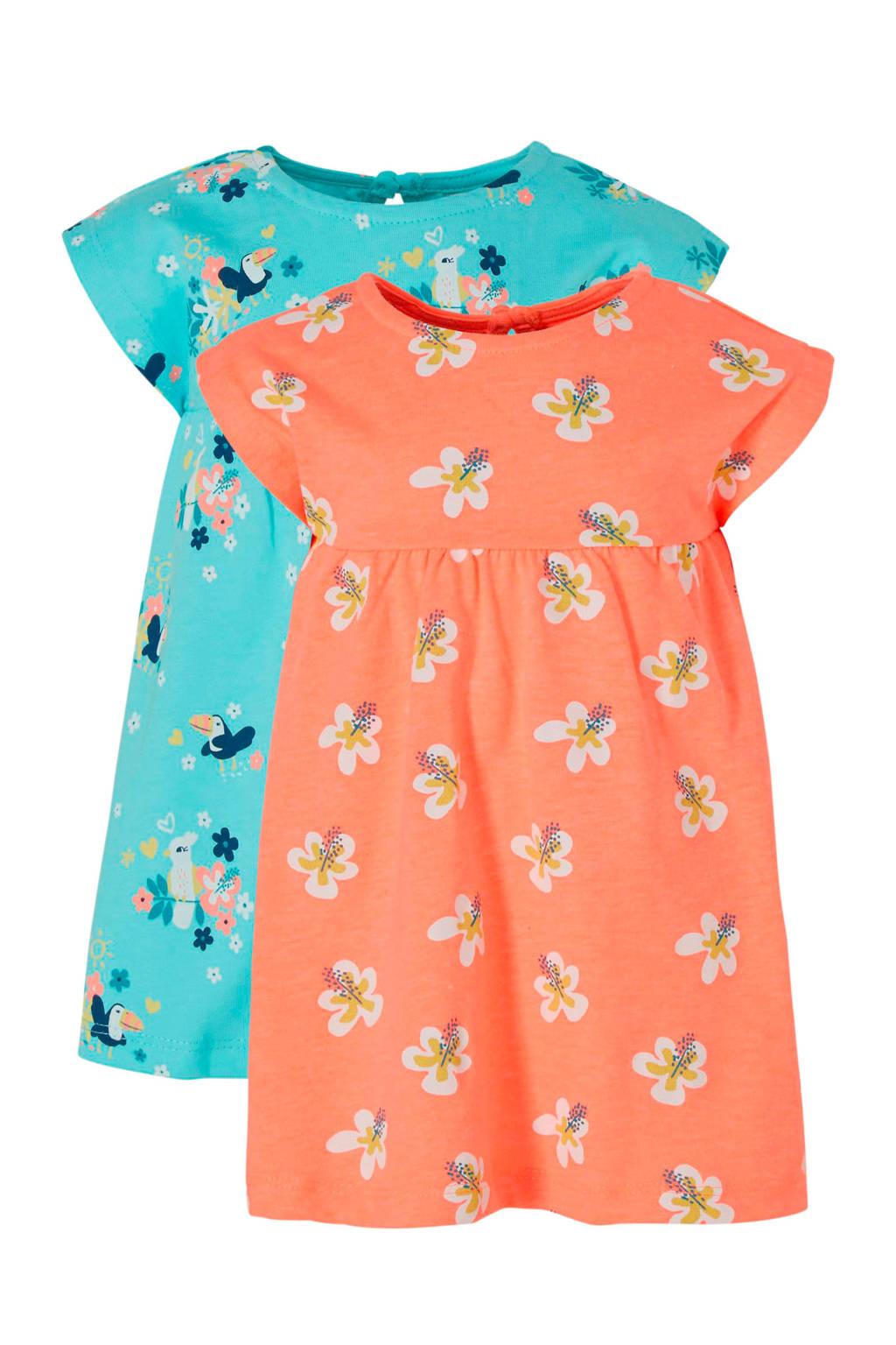 C&A Baby Club gebloemde jurk - set van 2, Lichtblauw/Oranje