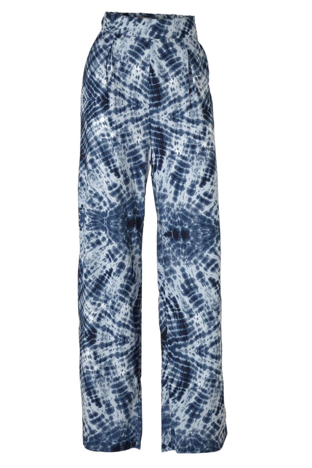 C&A Clockhouse straight fit broek met all over print blauw, Blauw