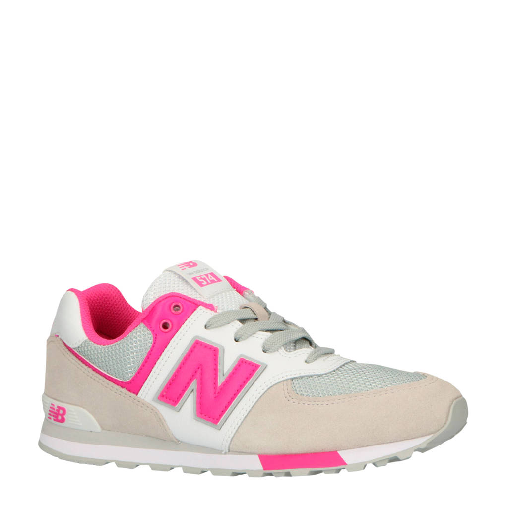 New Balance 574  sneakers wit/roze, Wit/roze