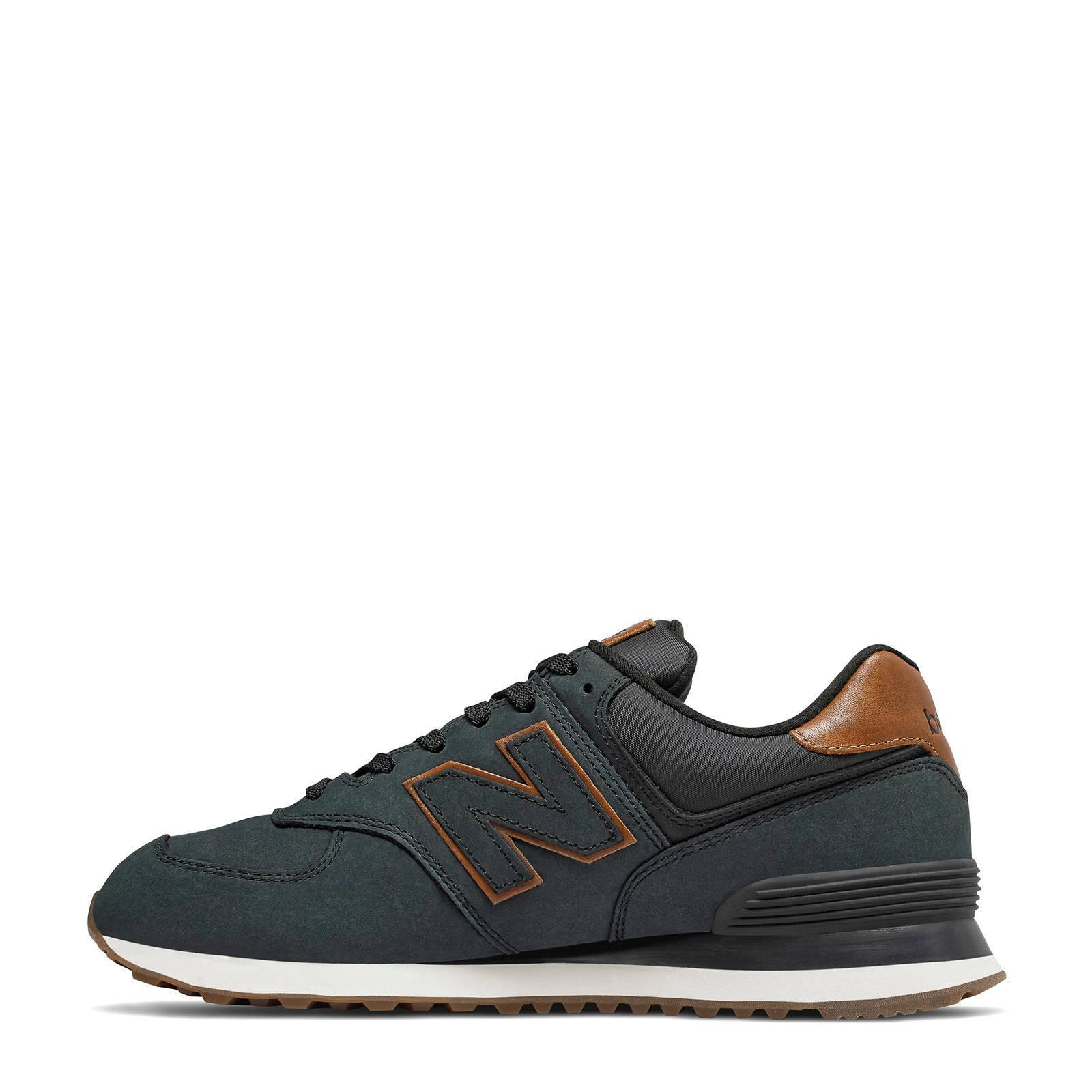 New Balance 574 sneakers zwart/bruin | wehkamp