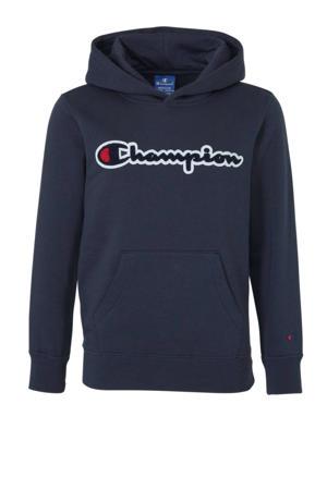 hoodie met 3D applicatie donkerblauw