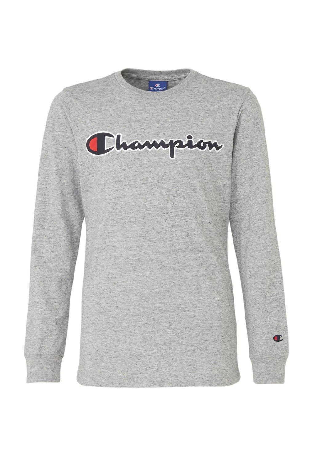 Champion longsleeve met logo grijs melange, Grijs melange