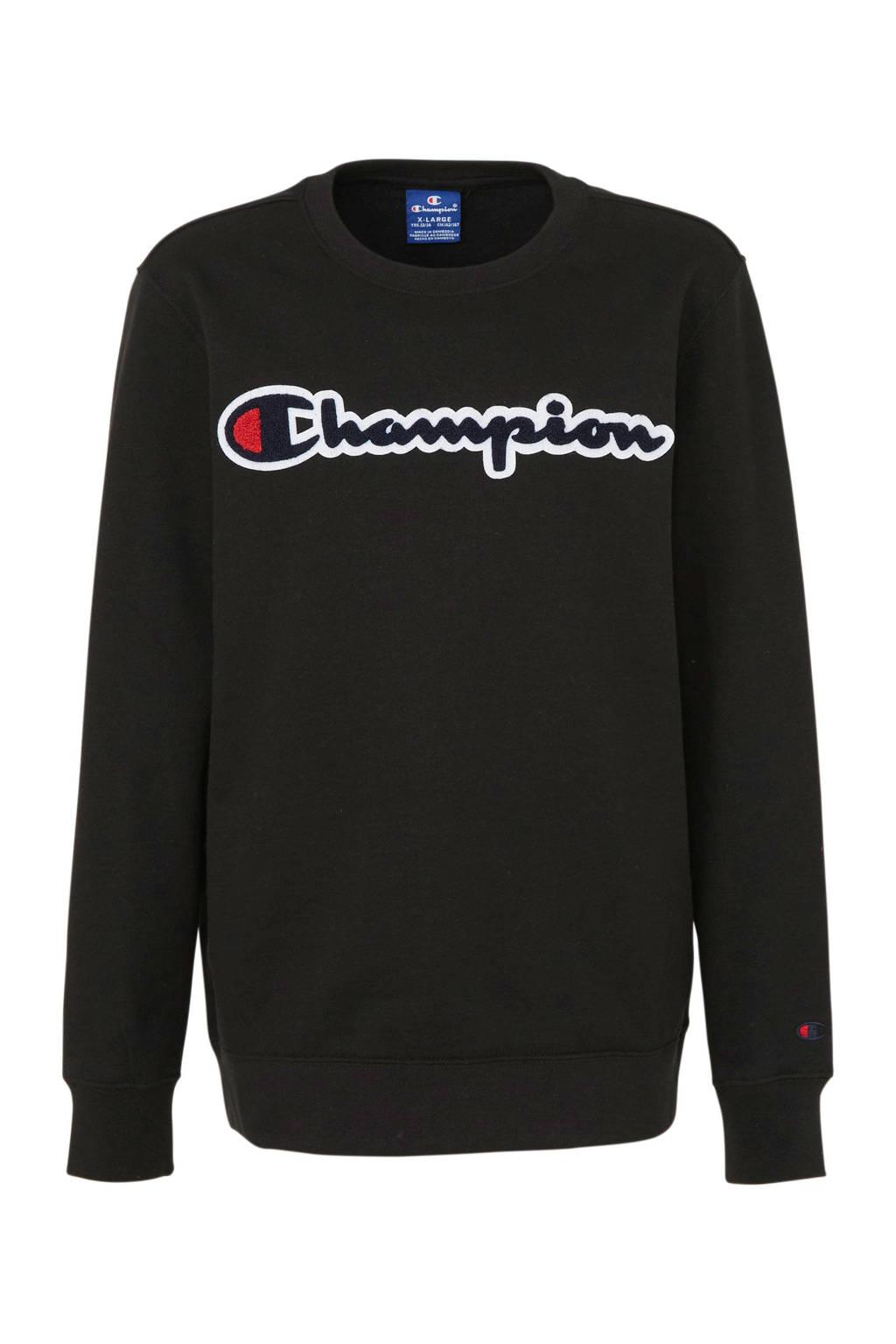 Champion sweater met logo en 3D applicatie zwart, Zwart