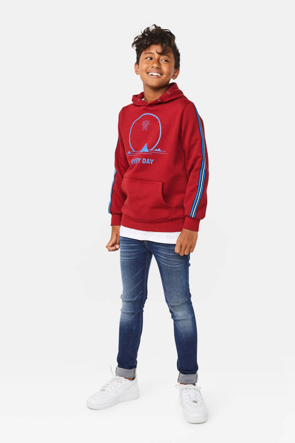 WE Fashion hoodie met contrastbies rood/blauw, Rood/blauw
