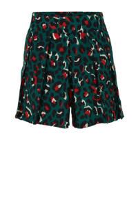 Colourful Rebel high waist loose fit short met panterprint donkergroen/rood/ecru, Donkergroen/rood/ecru