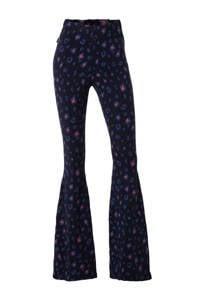 Colourful Rebel high waist flared broek met panterprint blauw/roze, Blauw/roze