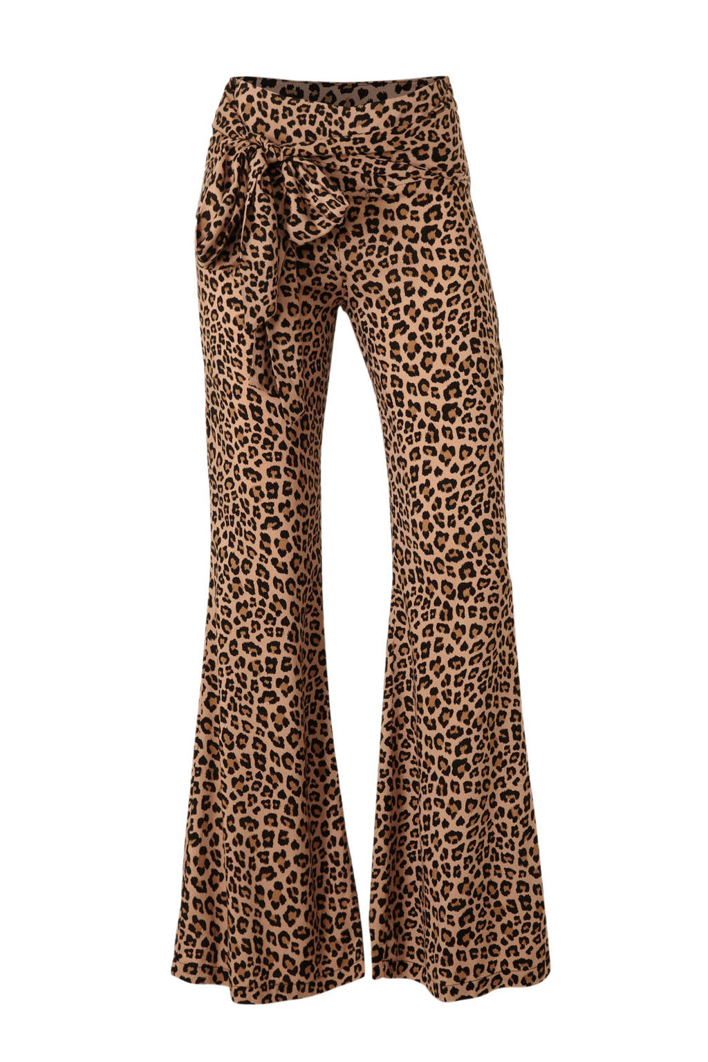 Colourful Rebel high waist flared palazzo broek met panterprint bruin/zwart, Bruin/zwart