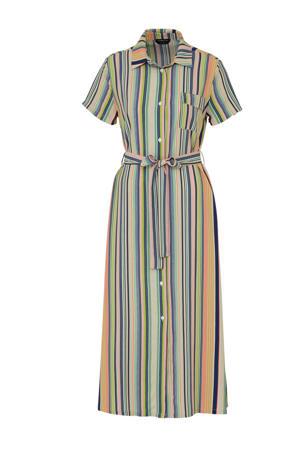 gestreepte maxi jurk blauw/roze/groen