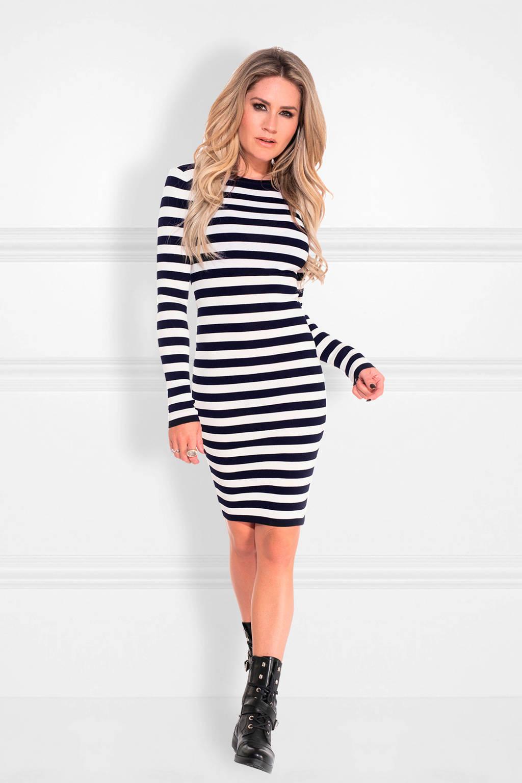 NIKKIE gestreepte jurk Jolie donkerblauw, Donkerblauw/wit