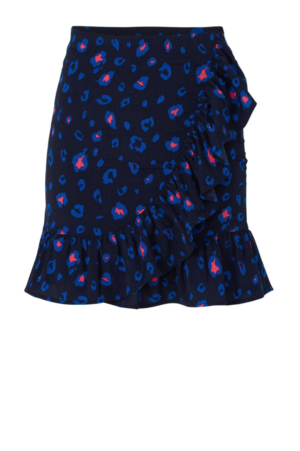 Colourful Rebel overslagrok met panterprint, Donkerblauw/roze