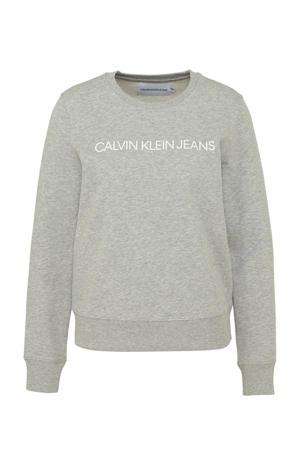 sweater met logo licht grijs