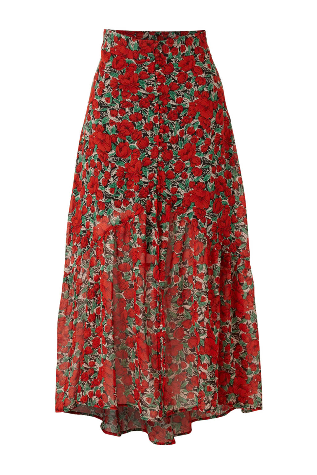 Colourful Rebel gebloemde rok rood, Rood multi
