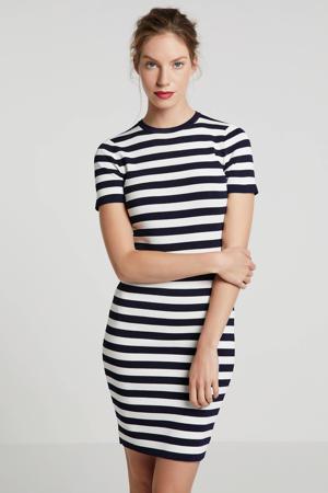Jolie gestreepte jurk donkerblauw/wit