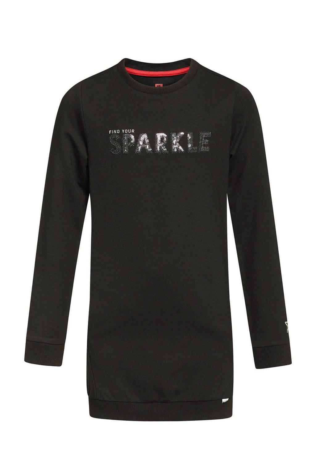 WE Fashion sweatjurk met tekst en pailletten zwart, Zwart