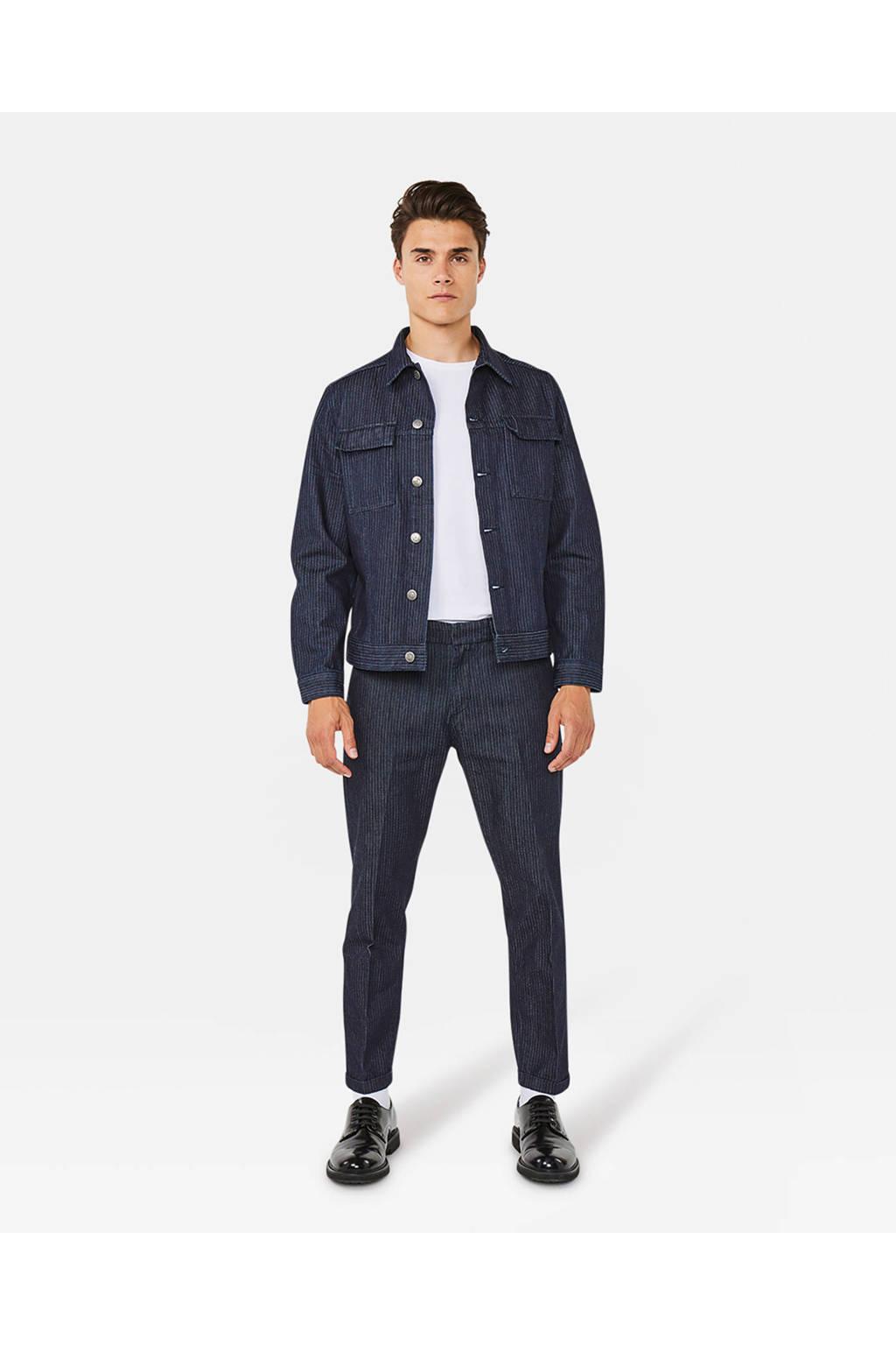 WE Fashion Blue Ridge spijkerjas met krijtstreep dark denim, Dark denim