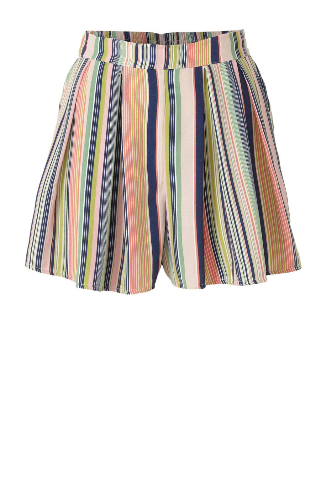 Colourful Rebel gestreepte high waist loose fit short roze/blauw/groen, Roze/blauw/groen