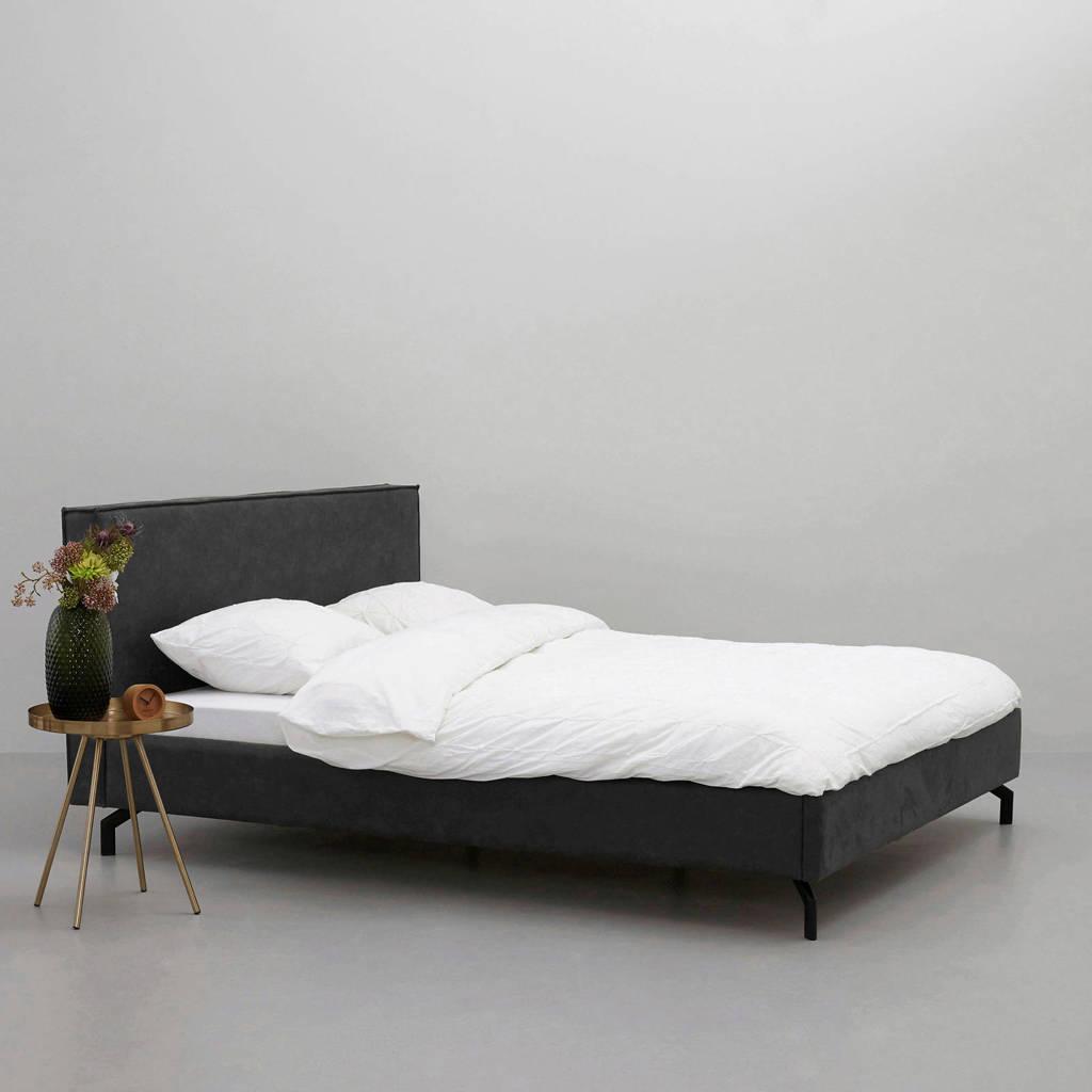 wehkamp home eco-leren bed Detroit  (180x210 cm), Antraciet