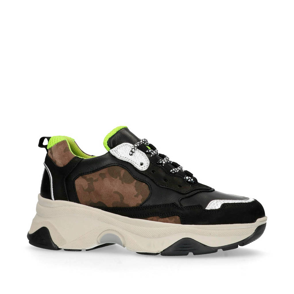 Sacha  leren dad sneakers zwart/bruin, Zwart