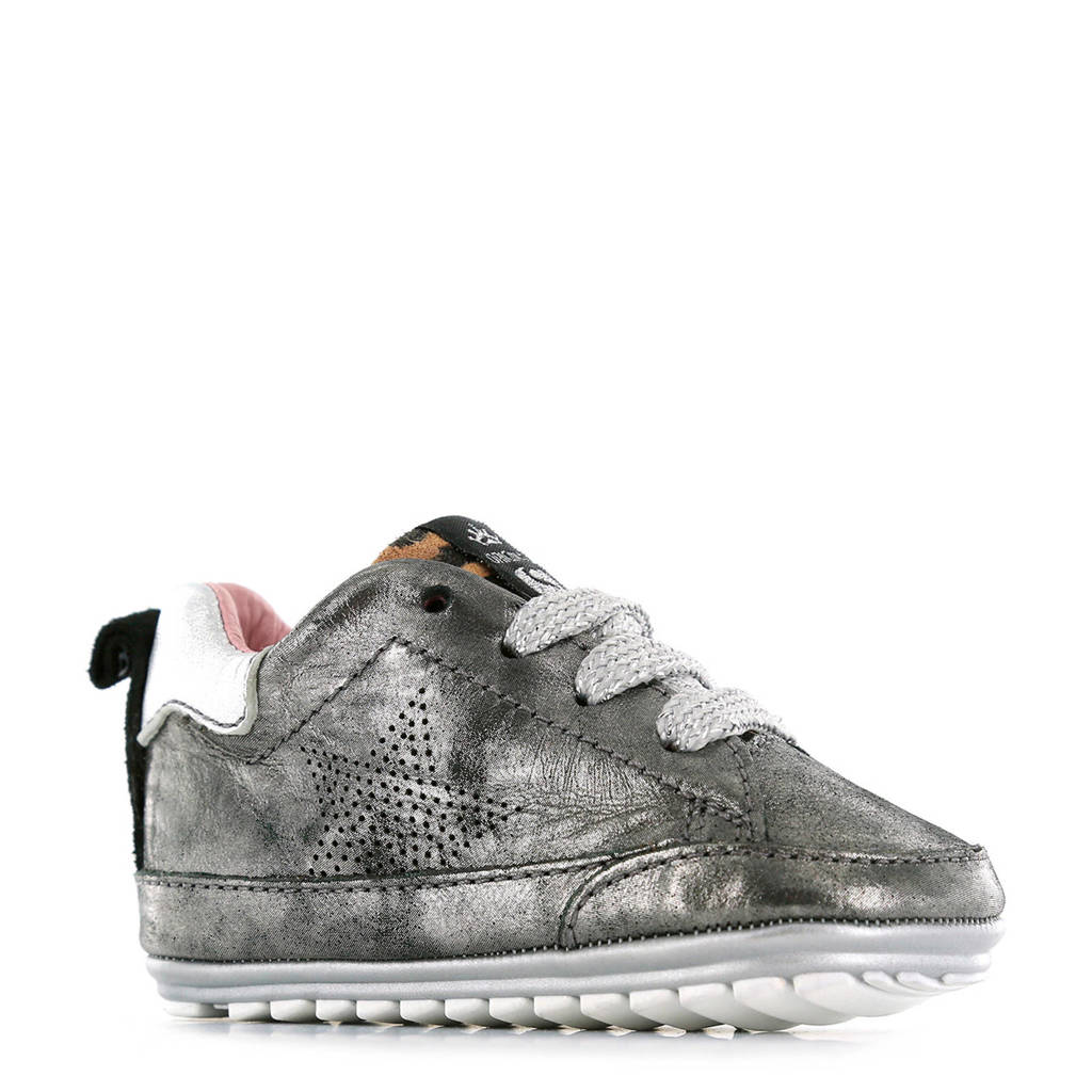 Shoesme   BP9W002-B leren babyschoenen zilver, Zilver/bruin