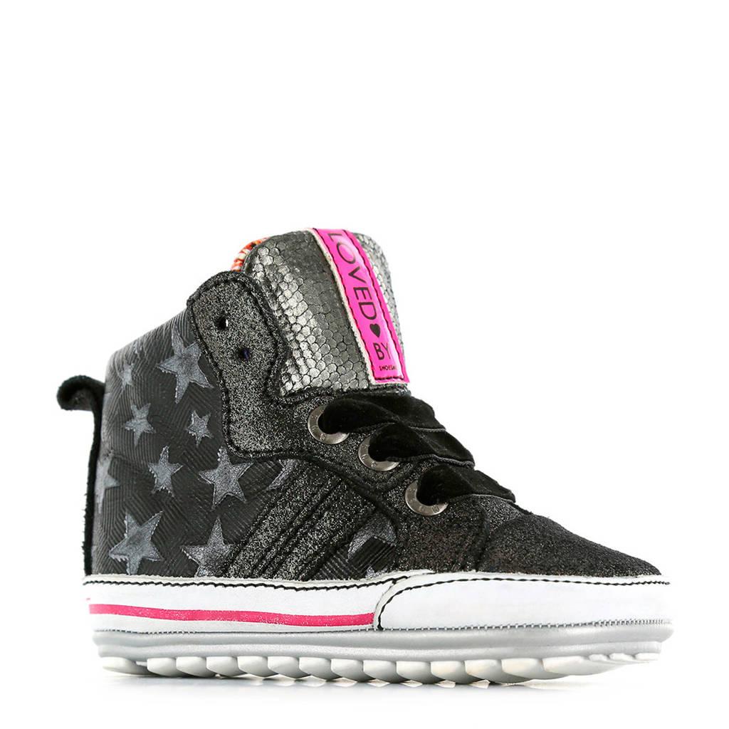Shoesme   BP9W109-B leren babyschoenen zwart/grijs, Zwart/grijs/roze