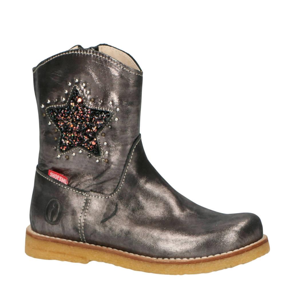 Shoesme leren laarzen metallic grijs met glitter ster, Metallic Grijs