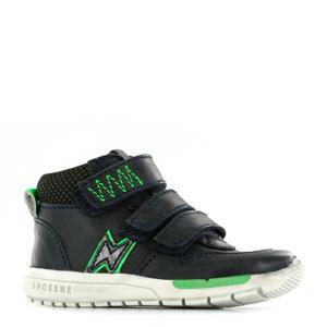 RF9W036-B leren sneakers donkerblauw/groen