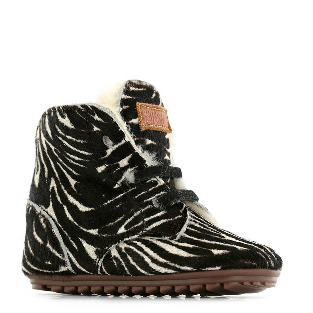 Shoesme   BP9W023-I leren babyschoenen zebraprint, Zwart/wit