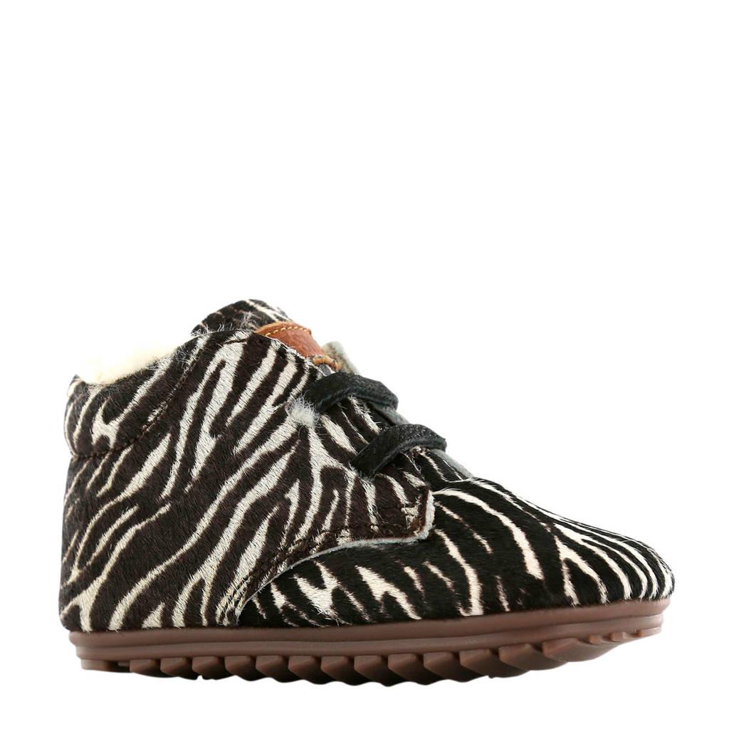 Shoesme   BP9W027-F leren babyschoenen zebraprint, Zwart/wit
