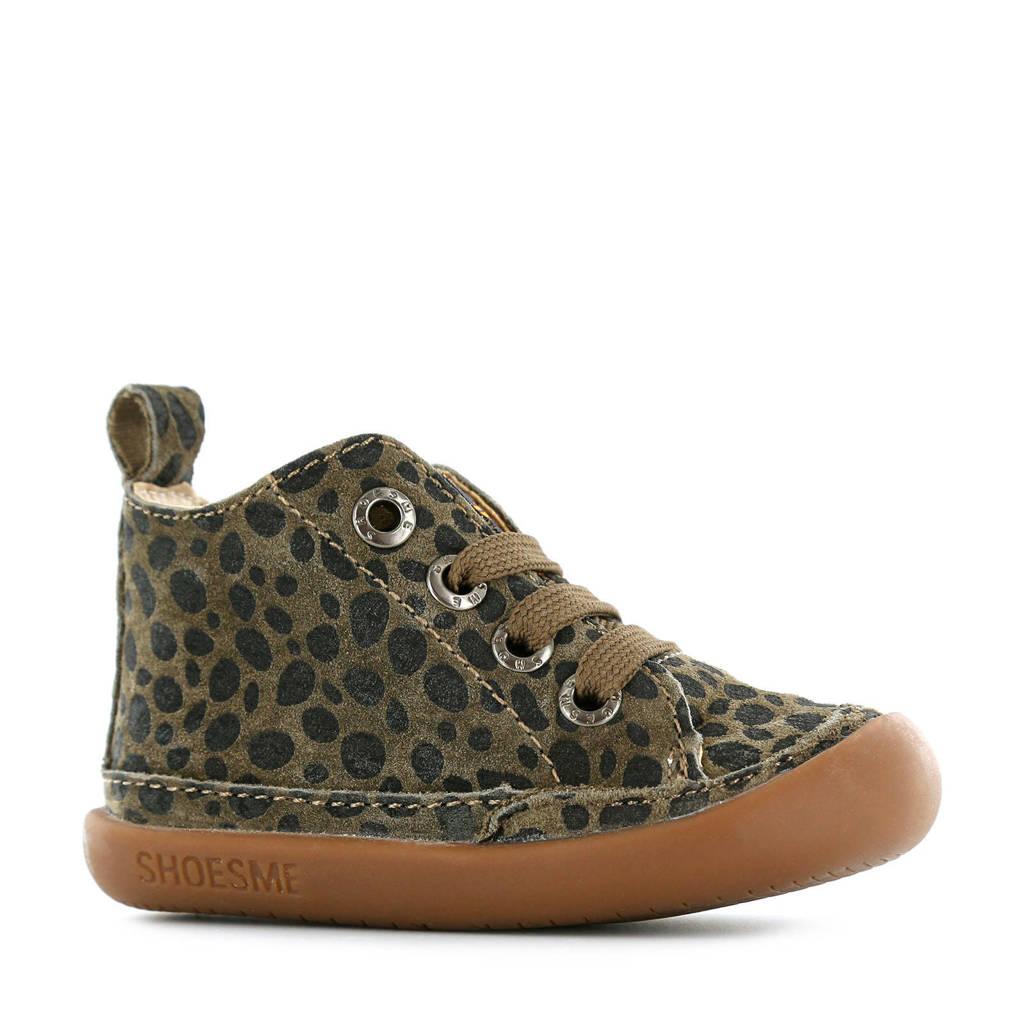 Shoesme BF9W001-B  leren babyschoenen panterprint, Groen