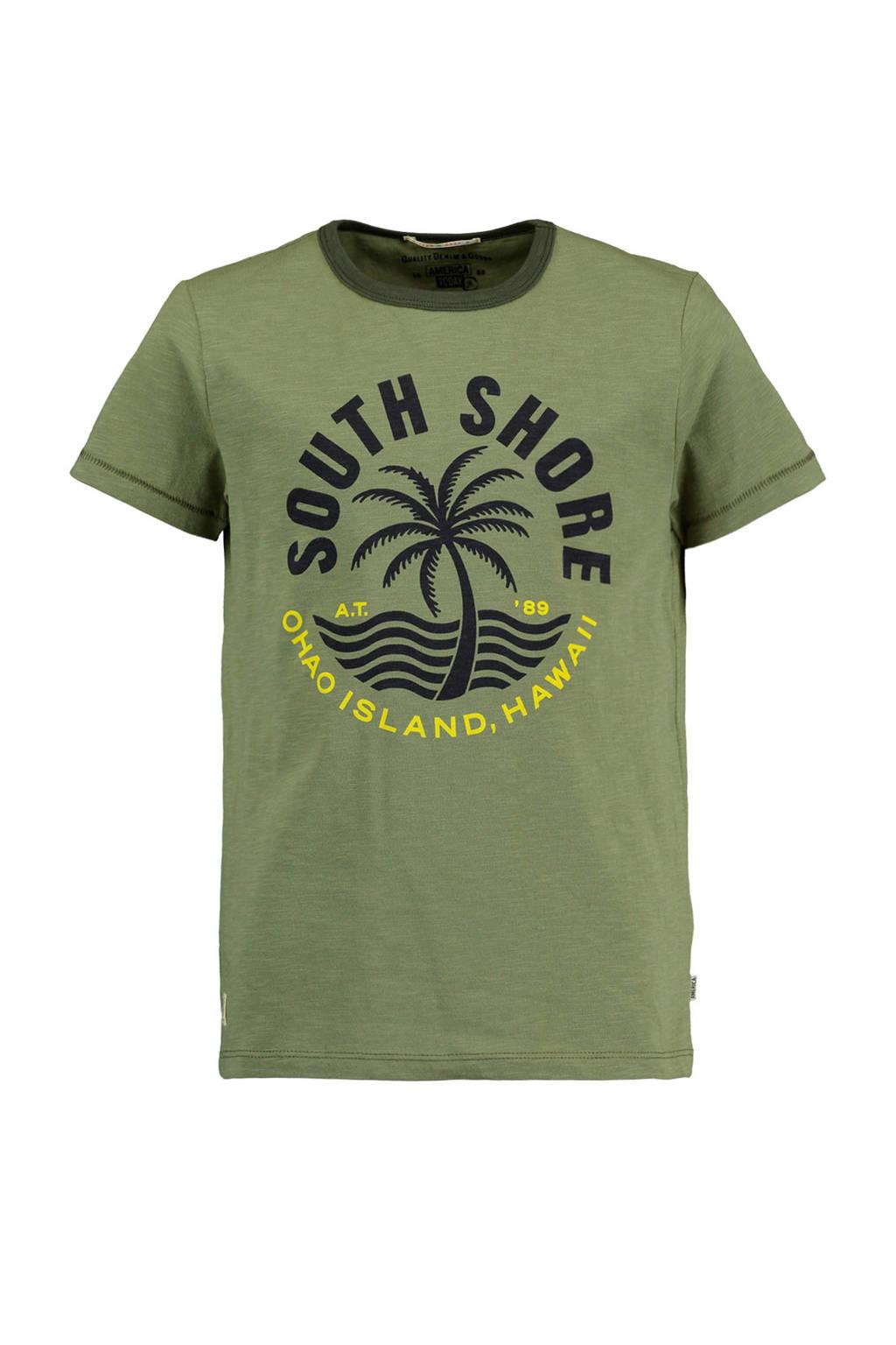 America Today Junior T-shirt Ewan met tekst kaki, Kaki